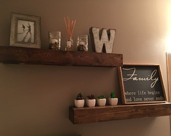 Rustic floating wood shelves