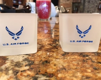Handmade sandcarved painted Air Force tealight holders-Set of Four