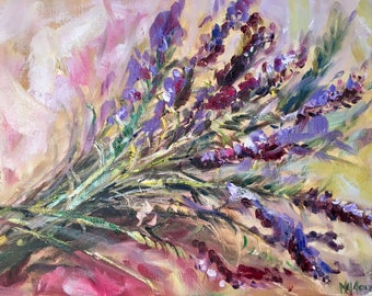 "SALE French Lavendar Painting // 9""x12"" Lavendar Oil Painting // Impressionistic Flower Painting"