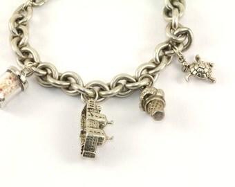 Vintage Beach Vacation Theme Charms Bracelet Sterling Silver BR 1341