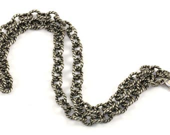 Vintage Twisted Cable Design Rolo Chain Necklace 925 Sterling Silver NC 850 - E