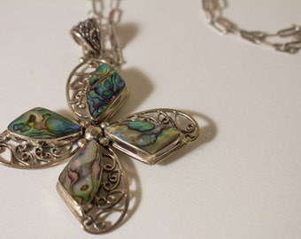 """3.5"""" MERAV INDONESIA sterling silver abalone shell pendant w/ necklace"""