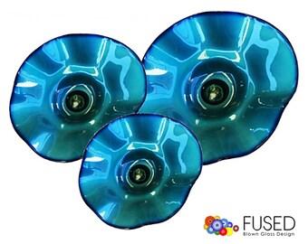 Beautiful Blown Glass Wall Art 3 Pcs Set Blue