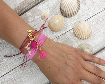 Hair tie bracelet, stacking bracelet, elephant bracelet, wish bracelet, karma bracelet, tassel hair tie, boho summer bracelet, yoga lover