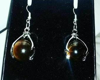 Natural Tiger eye, sterling silver earrings