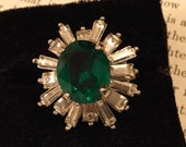 Striking vintage Napier faux emerald and rhinestone statement cocktail ring