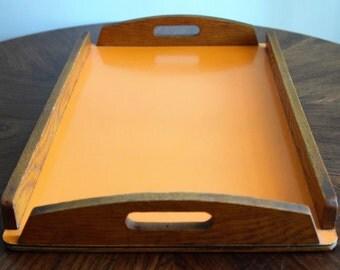 Atomic Orange melimine Serving Tray Oak /Retro/Vintage