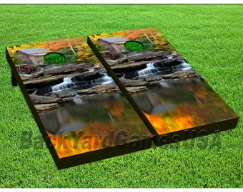 VINYL WRAPS Cornhole Boards DECALS Waterfall Nature Bag Toss Game Stickers 182