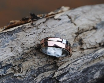 Hand Forged Stainless Steel Ring with Copper Detail