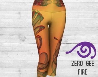 Yoga Capris, ZERO G FIRE by DRISHTI Art Wear