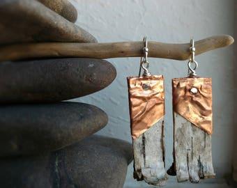Copper & Birch Drop Earrings