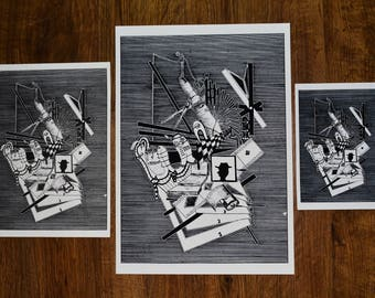 Hat - ART PRINT from Original drawing on paper