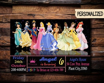 Princess Invitation / Disney Princess Invitation / Princess Birthday Invitation / Princess Party Invitation / Girl Invitation / C