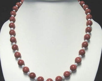 Goldstone and fresh water pearl necklace and bracelet