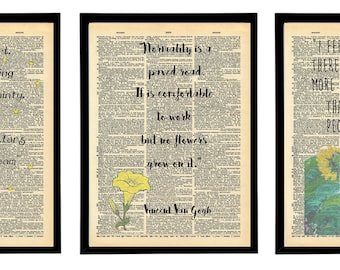Vincent van Gogh quote artwork prints. Vincent Van Gogh paintings. Vintage print packs.