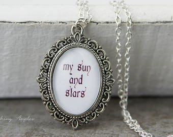 "Necklace ""my sun and stars"" / / love message, minimalist, poetic, lyric"