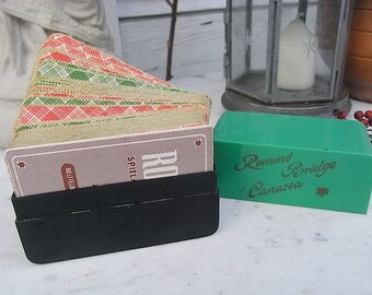 mid century card game box celluloid - card Rummy, canasta, bridge