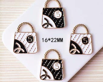 10pcs/lot 16*22mm Gold Tone Oil Bags Enamel Charms, Alloy Numbe 5 Pendants Cross Charms Jewelry Finding Supplies