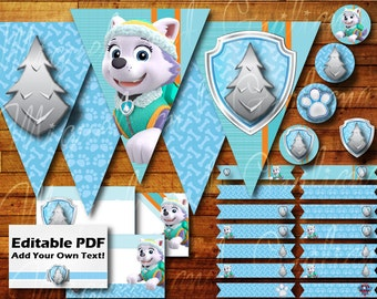 Printable Everest Paw Patrol Birthday Party Decoration Instant Digital Download with Paw Patrol Party Banner / Bunting / Cupcake Toppers