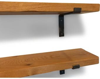 Industrial Chunky Solid Oak Vintage Style Shelf - Metal Brackets Included