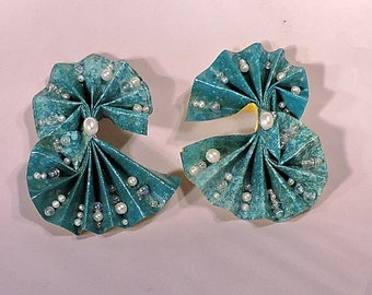 Eco Friendly Teal & Yellow Pleated Paper Earrings w/ Pearls
