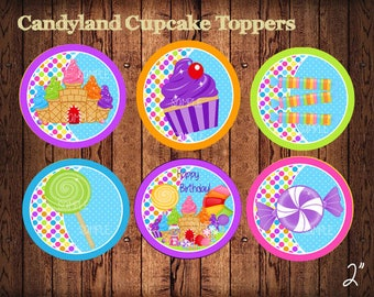 Candyland Cupcake Toppers,  Candyland  Birthday Party  Printables