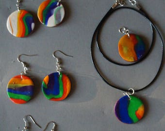 Rainbow earrings and necklaces