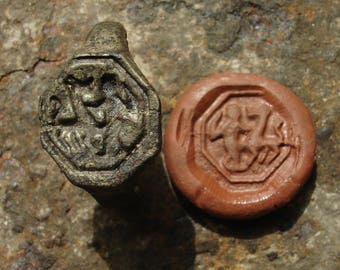 Ancient Medieval C. 12th-14th Century A.D. Lead Seal Ring depicting a Knight fighting a Dragon / US & Canadian approx. size: 9 3/4 or 10