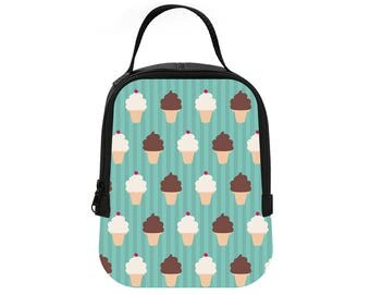 Ice Cream Summer Print Lunch Tote Neoprene Lunch Bag Lunchbox