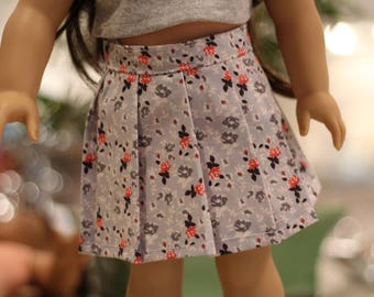 "18"" Doll Grey Floral Pleated Skirt"