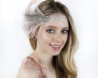 Great Gatsby Roaring 20's Feather Headband HBD1924
