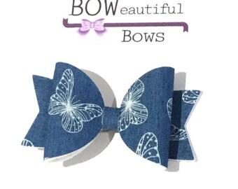 Hair bows Medium denim