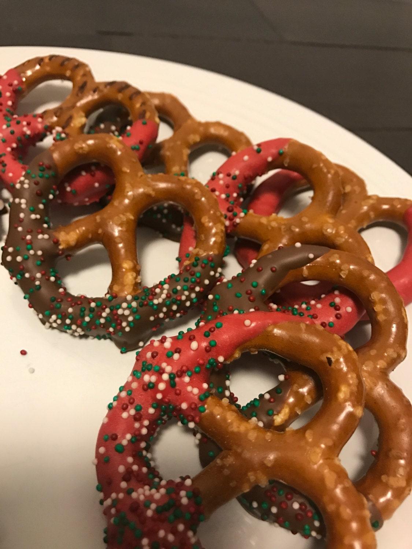 1 doz Chocolate covered pretzels half dipped