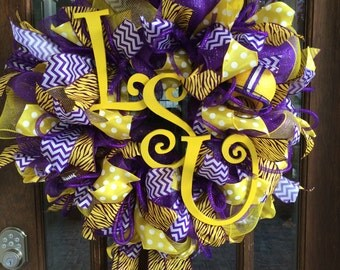LSU Tigers Deco Mesh Wreath