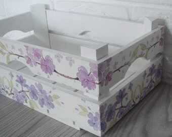 WOODEN CRATE FLOWERS, handmade wooden crate, wooden storage boxes, gift ideas, home decorations, decoupage crate, personalized crate
