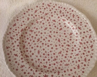 Set of 2 / Vintage Adams Ironstone China Sprig Pink / Dinner Plates / Rope Edge / Set of 2 Plates / Made in England between 1977-1983
