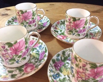 Vintage Crown Staffordshire China A Thousand Flowers Expresso Cups/Demitasse Cups & Saucers approx 1930's - 1950's. Made in England