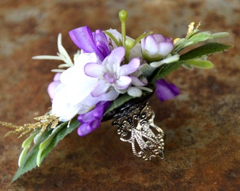 Ring corsage; prom;wedding;anniversary;purple;white modern;green;adjustable
