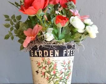 Floral floral arrangement in metal container;mothers day;table;wall;door;silk;artificial;faux;pink;white;green;summer;rustic