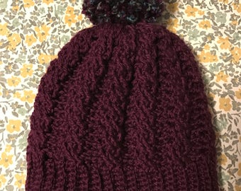 Adult size cabled beanie, Crochet beanie, crochet cabled hat, Pom Pom, purple beanie, lined beanie