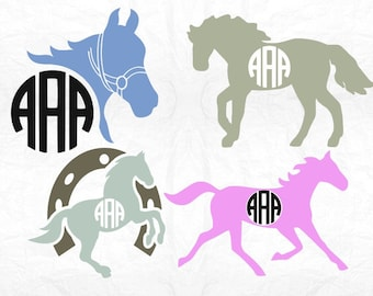 Horse head monogram SVG Clipart Cut Files Silhouette Cameo Svg for Cricut and Vinyl File cutting Digital cuts file DXF Png Pdf Eps