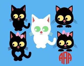 Halloween svg, Cat svg, Halloween cat svg, Black cat svg, Girl halloween svg, Cat halloween monogram,  Cricut, Cameo, Svg, DXF, Png, Eps
