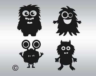 Monsters baby SVG Clipart Cut Files Silhouette Cameo Svg for Cricut and Vinyl File cutting Digital cuts file DXF Png Pdf Eps