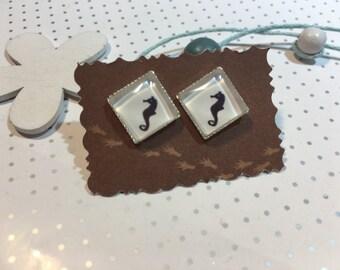 """Earrings earrings cabochon """"Seahorse"""" Seahorse"""