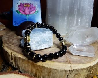 Black Onyx 8mm Crystal Bead Buddha Head Bracelet