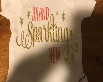 Brand Sparkling New - Brand Sparking New Onesie - Newborn Girl - Coming Home Outfit - Baby Girl - Baby Shower Gifts - Gifts for Girl