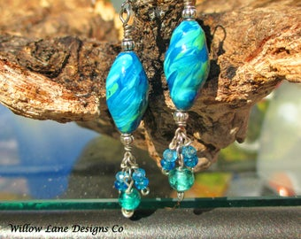 SUMMER CLEARANCE SPECIAL  Handmade & Hand Painted Artisan Up Cycled  Paper Bead Jewelry Earrings Blue Green