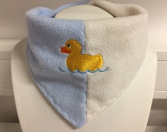 Fleecehalstuch for kids / two-tone with embroidery motif duck
