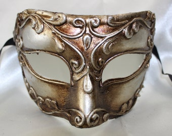 Mens Silver Bronze Ancient Roman Emperor Colombina Style Half Face Venetian Eye Mask 054