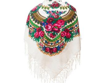 Big WHITE folk SCARF shawl with flowers and fringes POLISH scarves fashion colors